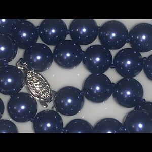 Metallic blue south sea shell pearl necklace 12mm